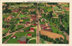 Postcard Airplane View of Weaverville North Carolina