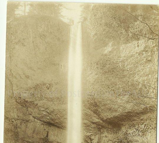 Latourell Falls - Columbia River Oregon Vintage Sienna RPPC Real Photo Postcard