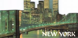 NEW YORK CITY~BROOKLYN BRIDGE-LOWER MANHATAN-TWIN TRADE TOWERS~DIE CUT POSTCARD