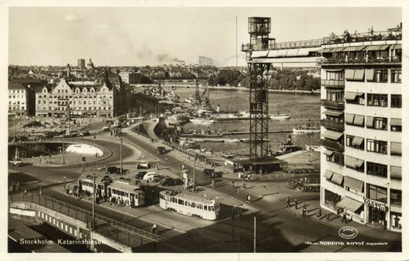 sweden, STOCKHOLM, Katarinahissen, Trams (1950) RPPC