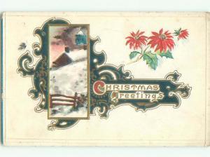 Pre-Linen christmas POINSETTIA FLOWERS AND WINTER SCENE k1768