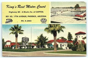VTG Linen c1950 Kings Rest Motor Court US 80 Phoenix AZ Arizona Motel Hotel A3