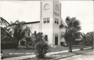 Methodist Church Hollywood Florida 1930 - 1950 Real Photograph Postcard RPPC