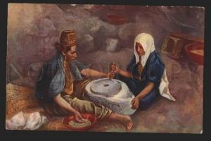 117171 Arabian Women at Mill  Vintage colorful PC