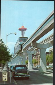 Washington SEATTLE'S Monorail Train One of the 2 trains old car 1950s-1970s