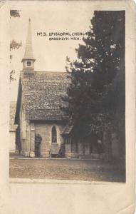 Brooklyn Michigan~No3 Episcopal Church~Tall Steeple~Vintage RPPC