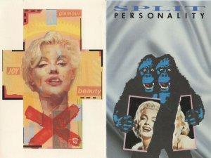 Marilyn Monroe Split Personality Gorilla Comic 2x Postcard s