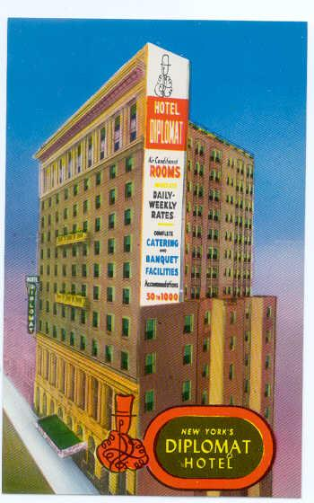 Hotel Diplomat, 108 W 43rd St, New York 36, NY, pre-zip code Chrome