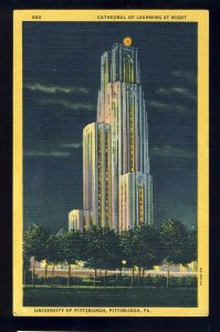 Pittsburgh, Pennsylvania/PA Postcard, Cathedral Of Learning At Night, University