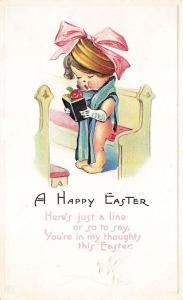 A Happy Easter Poem Singing in Church Pew Embossed 1917 Postcard