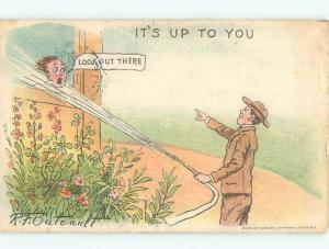 Pre-1907 Comic signed OUTCAULT - WOMAN SPRAYED IN FACE WITH HOSE AB9169