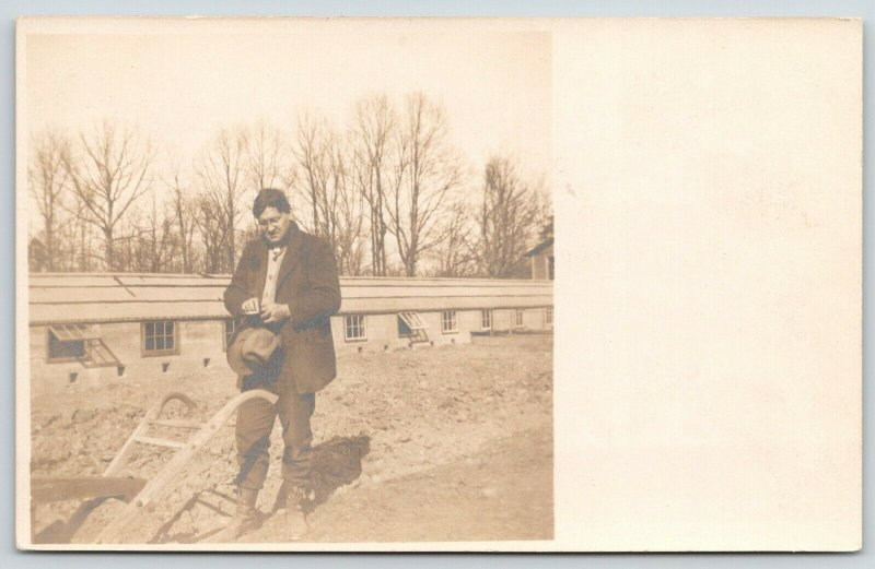 Real Photo Postcard~Gentleman Farmer Stops to Read~Plow~Low Livestock Bldg~1908