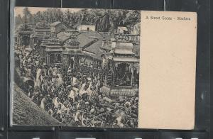 INDIA, MADURA, 1911, STREET SCENE MAILED TO FLORENCE,ARRIVED IN FIRENZE,ITALY