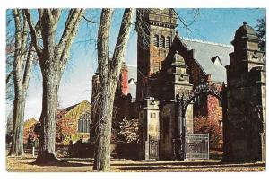 MA Mt Holyoke College Mary Lyon Gate & Tower Vntg Postcard