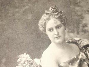 MA-011 A Fair American Pretty Woman Victorian Lithograph With Vase Lutz Gould