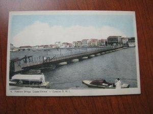 Danish West Indies Postcard Pontoon Bridge Queen Emma Curacao DWI Unused