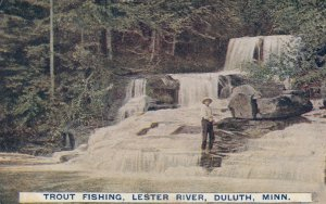 TRout Fishing , Lester River , DULUTH , Minn. , 1908