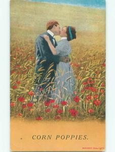 Bamforth ROMANTIC COUPLE KISSING IN CORN POPPY FLOWER FIELD J3865