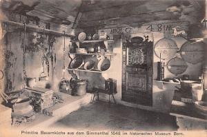Switzerland Old Vintage Antique Post Card Primitive Bauernkuche aus dem Simme...