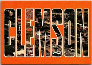 CLEMSON UNIVERSITY Large Letter Postcard Multi-View Tigers Football 1980s Unused