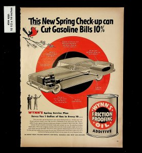 1953 Friction Proofing Wynn's Additive Oil Vintage Print Ad 015744