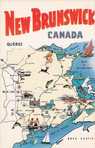 Map,  The Province of New Brunswick,   Canada,  40-60s