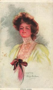 Philip Boileau Artist Beautiful Woman Spring Song  Postcard