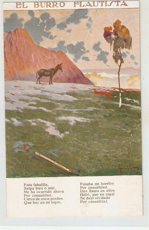 J.M. Segrelles. El burro flautista. . The Piper Donkey Nice Vintage Spanish PC