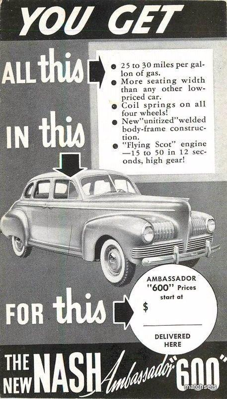 1940s Nash Ambassador 600 Sedan postcard 1679 Black White