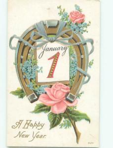 Divided-Back NEW YEAR SCENE Great Postcard AA2012