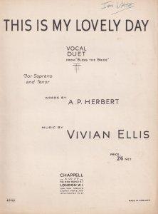 This Is My Lovely Day Vivian Ellis Olde Sheet Music