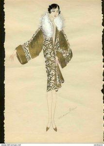 ORIGINAL ART hand drawn ART DECO 1920s woman's fashion #2 MODE