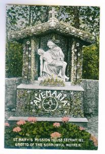 St Mary's Mission House, Techny, Illinois, Grotto of Sorrowful Mother PPC