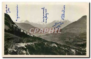 Old Postcard Lourdes on Viaduct Pic du Jer and Mountains