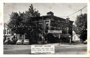Ithaca Michigan~Seaver House Hotel & Restaurant~Fried Chicken~Pennants~1955 B&W