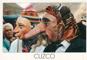 Cuzco Peru Fancy Dress Giant Nose Carnival Wooden Mask Postcard