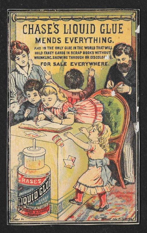 VICTORIAN TRADE CARD Chase's Liquid Glue Family
