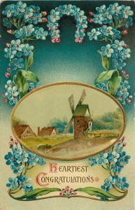 Windmill in Oval Frame~Congratulations~Blue Forget-Me-Nots Art Nouveau~Germany