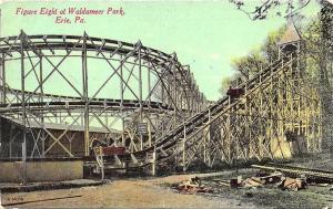 Erie PA Figure 8 at Waldameer Park Roller Coaster Amusement Park Postcard