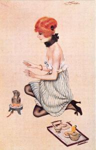 Partially Nude Woman Heater Signed Constantin Meunier Postcard