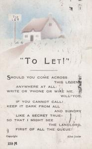 Hosue To Let Landlord Tenant Antique Songcard Poetry Postcard