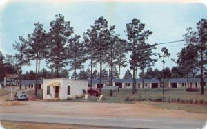 Atlanta-Jonesboro~Hillcrest Motel~Steam Heat~Patio Umbrella 1957 Postcard