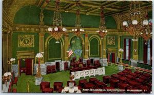 Harrisburg, Pennsylvania Postcard Senate Chamber, State Capitol Interior 1915