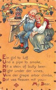To My Valentine Raphael Tuck Leatherette Poem Couple Postcard