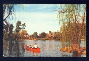Phoenix,  Arizona/AZ Postcard, Encanto Park & Playground, Canoe On Lake