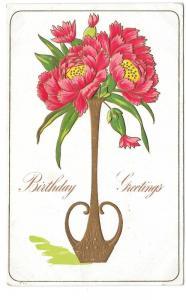 Birthday Greetings Peonies Flowers in Vase Embossed Postcard