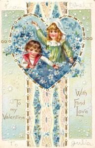 Valentine Children In Flower Field Heart Tucks Antique Postcard K25537