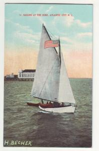 P114 JLs postcard artist signed sailing atlantic city nj