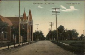 Gainesville TX South Denton St. c1910 Postcard