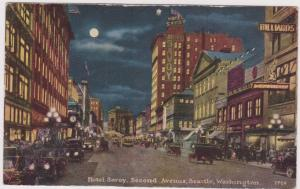 Hotel Savoy, Second Avenue, Seattle, Washington, 1900-1910s at night